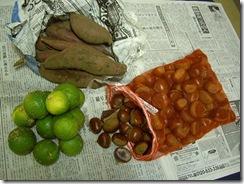 栗、サツマイモ、スダチ、秋の味覚