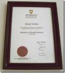 西オーストラリア州公立マードック大学卒業証書